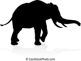 Silueta de elefante de safari de animales