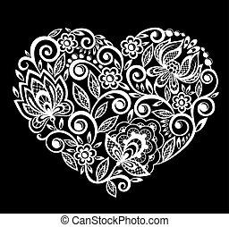 Silueta de encajes en el corazón flores, hojas. Aislado en blanco.