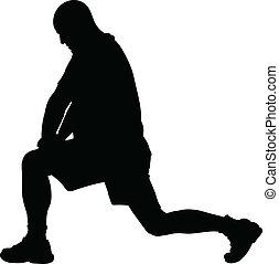 Silueta de estiramiento de piernas
