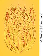 Silueta de fuego en un fondo amarillo