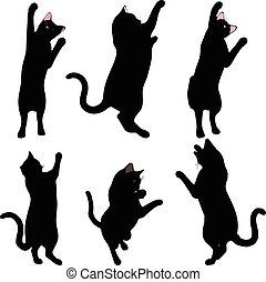 Silueta de gato en pose Reach