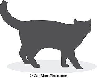 Silueta de gato en un fondo blanco. Ilustración de vectores