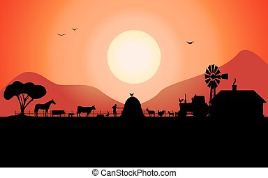 Silueta de granja Vector con animales de rancho