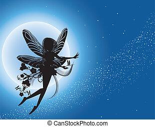 Silueta de hada voladora