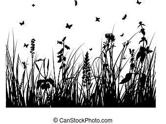 Silueta de hierba