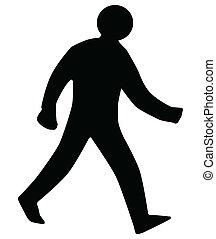 Silueta de hombre andante