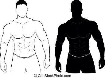 Silueta de hombre musculoso