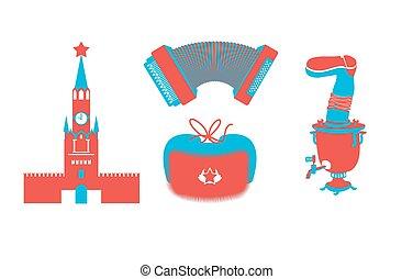 Silueta de iconos rusos. Personajes tradicionales rusos. Moscú kremlin en la Plaza Roja. Acordion y samovar. Capa nacional rusa con auriculares