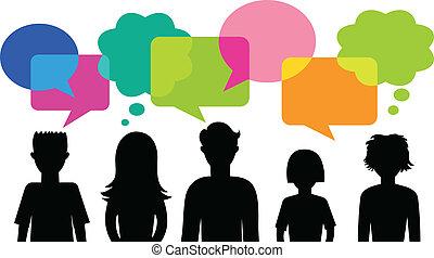 Silueta de jóvenes con burbujas de habla