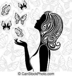 Silueta de jovencita con mariposas voladoras
