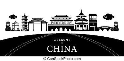 Silueta de la ciudad de China
