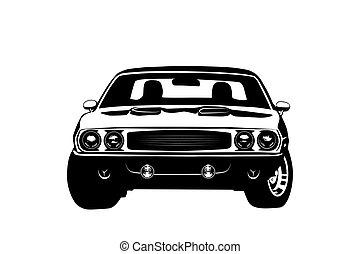 Silueta de la leyenda de los coches militares americanos