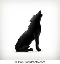 Silueta de lobo, vector
