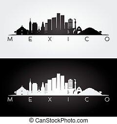 Silueta de México y puntos de referencia.