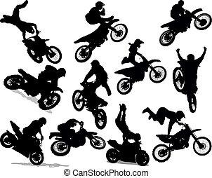 Silueta de motos puestas
