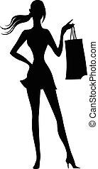 Silueta de mujer con bolsas de compras en la mano