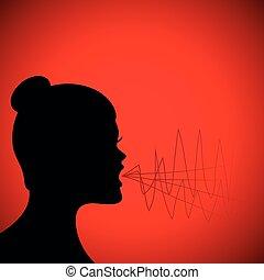 Silueta de mujer gritando en el fondo rojo