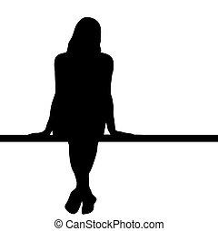 Silueta de mujer sentada en un banco