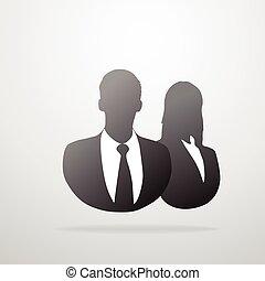 Silueta de negocios masculino y femenino de perfil