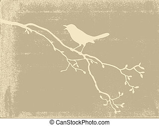Silueta de pájaro en papel viejo, ilustración vectora