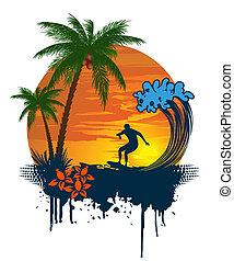 Silueta de palma y surfista