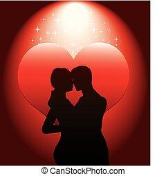 Silueta de pareja sexy con hea roja