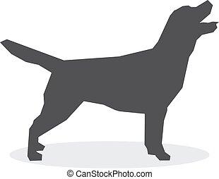 Silueta de perro en un fondo blanco. Ilustración de vectores