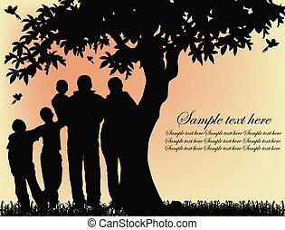 Silueta de personas y árboles