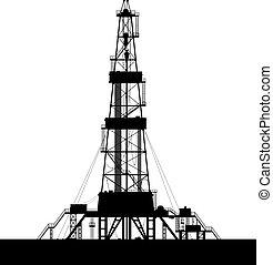 Silueta de plataforma petrolera aislada en el fondo blanco.