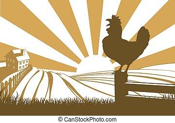Silueta de pollo gallo cacareando