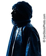 Silueta de retrato de hombre tuareg