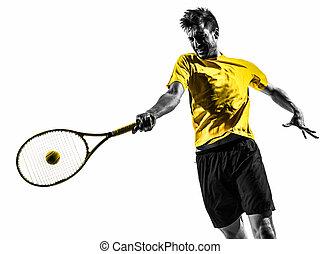 Silueta de retrato de un tenista