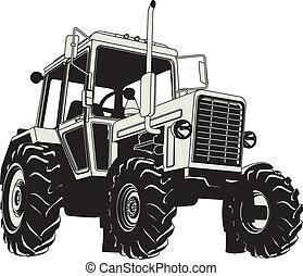 Silueta de tractores agrícolas Vector