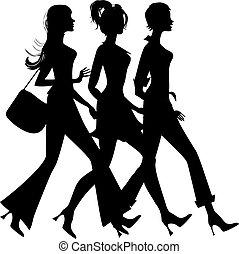 Silueta de tres chicas de compras