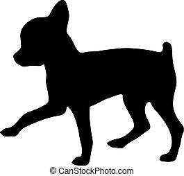 Silueta de un chihuahua. Ilustración vectorial