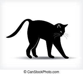 Silueta de un gato negro. Vector