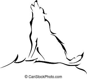 Silueta de un lobo aullando aislado en el fondo blanco. Logo.