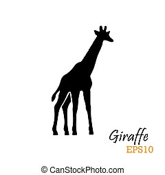 Silueta de una jirafa. Ilustración de vectores. Símbolo, logo.