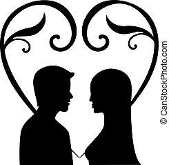 Silueta de una mujer y hombres enamorados