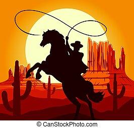 Silueta de vaqueros occidentales en el desierto
