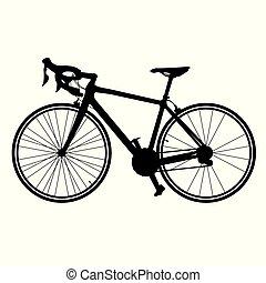 Silueta de vector de bicicleta de carretera bicicleta aislada en el fondo blanco