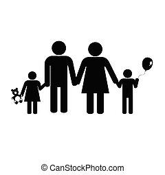 Silueta de vector negro familiar