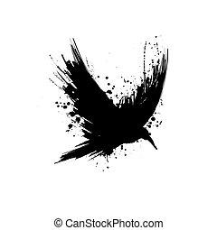 Silueta del cuervo grunge