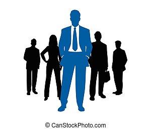 Silueta del equipo de negocios
