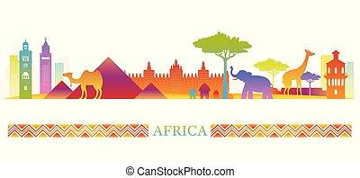 silueta del horizonte, colorido, señales, áfrica