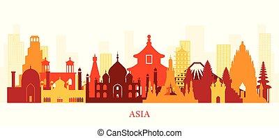 silueta del horizonte, colorido, señales, asia