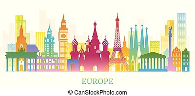 silueta del horizonte, colorido, señales, europa