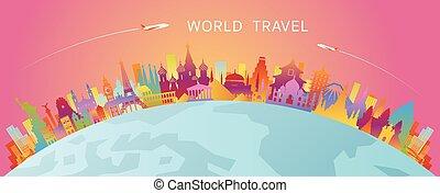 silueta del horizonte, colorido, señales, mundo, curva
