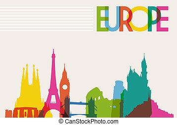 silueta del horizonte, europa, monumento