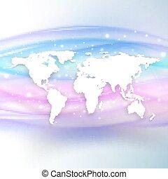 Silueta del mapa del mundo blanco con sombra en el fondo de la hermosa ola, ilustración vectorial